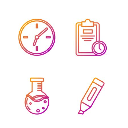 Set line Marker pen, Test tube and flask chemical laboratory, Clock and Exam sheet with clock. Gradient color icons. Vector Stock fotó - 138436214
