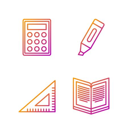 Set line Open book, Triangular ruler, Calculator and Marker pen. Gradient color icons. Vector