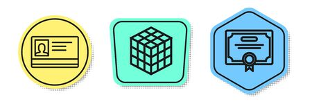 Set line Identification badge, Rubik cube and Certificate template. Colored shapes. Vector