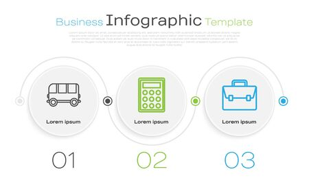 Set line School Bus, Calculator and Briefcase. Business infographic template. Vector