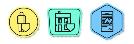 Set line Life insurance with shield, House with shield and Torn contract. Colored shapes. Vector