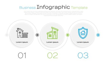 Set line House, House and House with shield. Business infographic template. Vector Illustration
