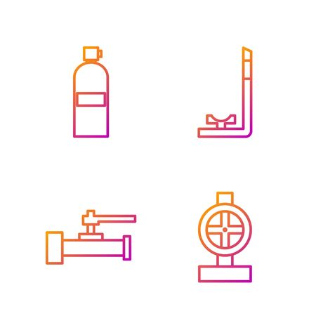 Set line Industry metallic pipes and valve, Industry metallic pipes and valve, Aqualung and Snorkel. Gradient color icons. Vector Banque d'images - 138436422