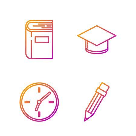 Set line Pencil with eraser, Clock, Book and Graduation cap. Gradient color icons. Vector