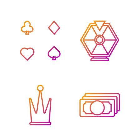 Set line Stacks paper money cash, Crown, Playing cards and Lucky wheel. Gradient color icons. Vector