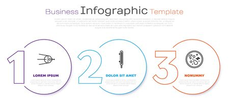 Set line Satellite, Meteorology thermometer measuring and Bacteria. Business infographic template. Vector