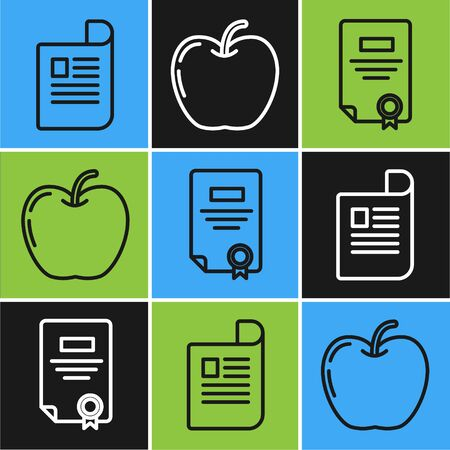 Set line Document, Certificate template and Apple icon. Vector