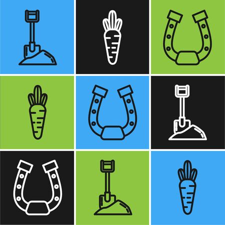 Set line Shovel in the ground, Horseshoe and Carrot icon. Vector Zdjęcie Seryjne - 138544631