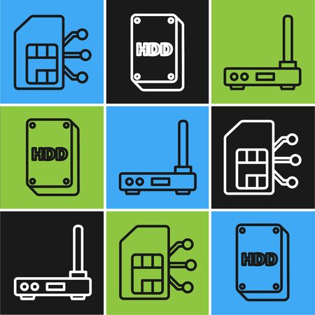 Set line Sim card, Router, signal and Hard disk drive HDD icon. Vector