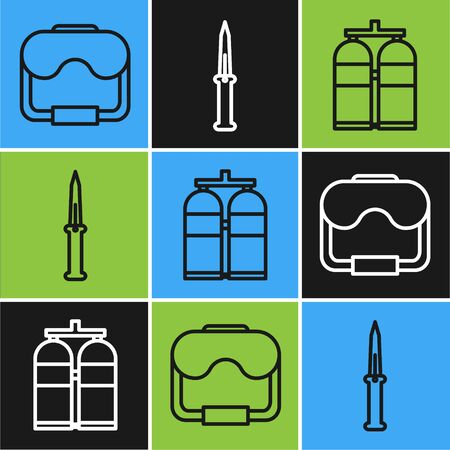 Set line Diving mask, Aqualung and Army knife icon. Vector