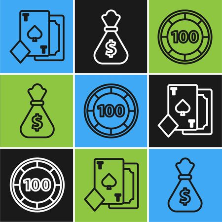 Set line Playing card with spades, Casino chips and Money bag icon. Vector