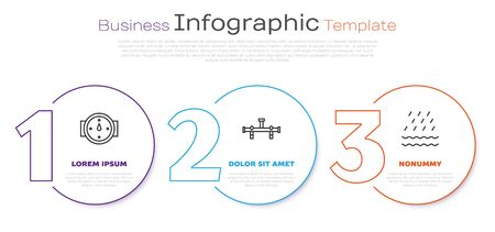 Set line Wind rose, Manifold and Rain and waves. Business infographic template. Vector