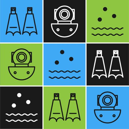 Set line Rubber flippers for swimming, Cold and waves and Aqualung icon. Vector