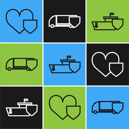 Set line Heart with shield, Ship with shield and Delivery cargo truck with shield icon. Vector