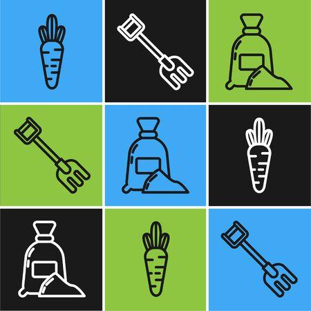 Set line Carrot, Bag of flour and Garden rake icon. Vector