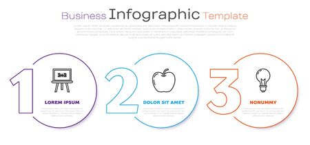 Set line Chalkboard, Apple and Light bulb with concept of idea. Business infographic template. Vector