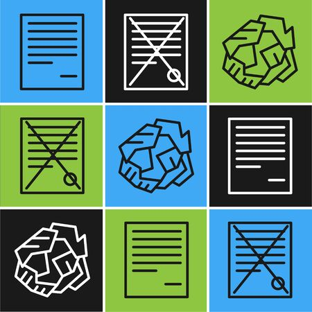 Set line Document, Crumpled paper ball and Delete file document icon. Vector