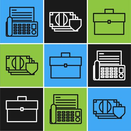Set line Fax machine, Briefcase and Money with shield icon. Vector Illusztráció
