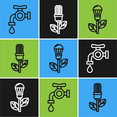 Set line Water tap, Light bulb with leaf and Light bulb with leaf icon. Vector