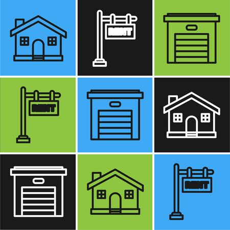 Set line House, Garage and Hanging sign with text Rent icon. Vector Ilustração