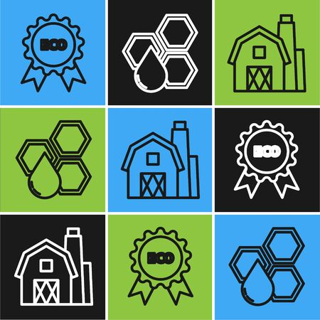 Set line Banner, label, tag for eco, Farm House concept and Honeycomb icon. Vector