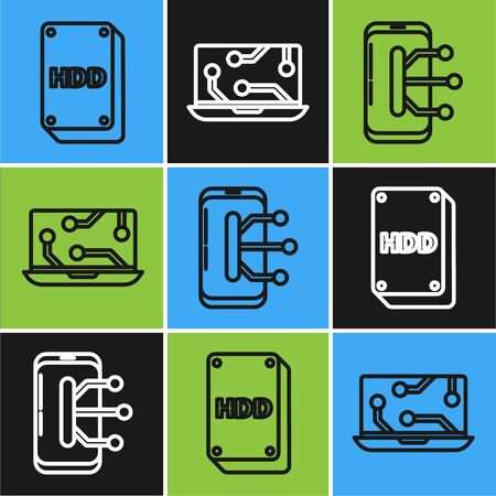 Set line Hard disk drive HDD, Smartphone, mobile phone and Laptop icon. Vector Illusztráció