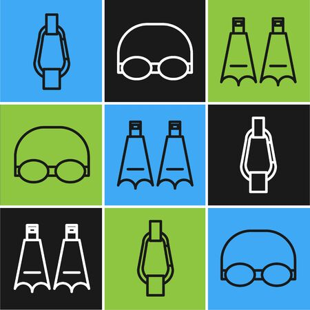 Set line Carabiner, Rubber flippers for swimming and Glasses and cap for swimming icon. Vector