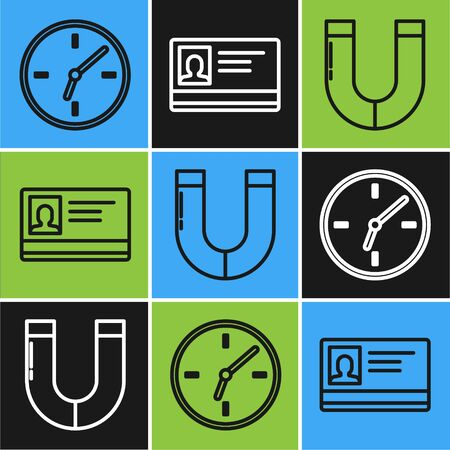 Set line Clock, Magnet and Identification badge icon. Vector
