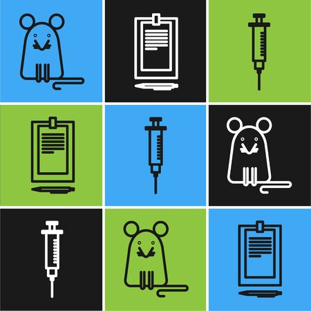 Set line Rat, Syringe and Clipboard with document icon. Vector Ilustracja