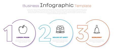 Set line Apple, Graduation cap on screen laptop and Ringing bell. Business infographic template. Vector Illusztráció
