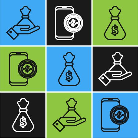 Set line Hand holding money bag, Money bag and Online poker table game icon. Vector Ilustrace