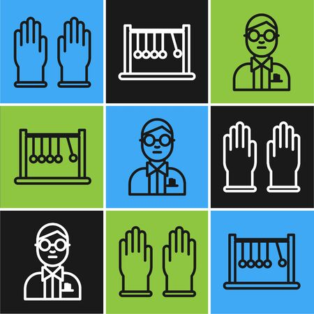 Set line Rubber gloves, Scientist and Pendulum icon. Vector Illustration