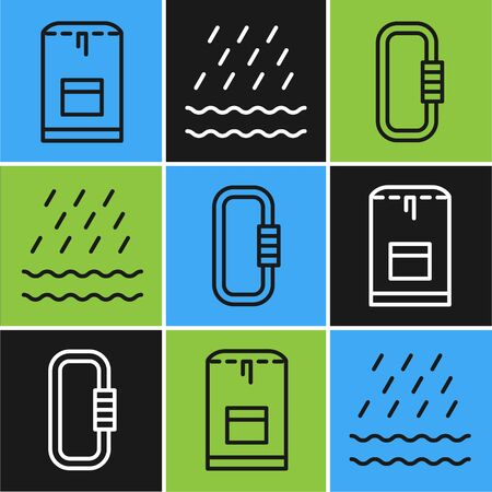 Set line Backpack, Carabiner and Rain and waves icon. Vector