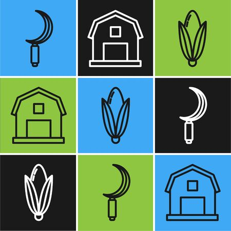 Set line Sickle, Corn and Farm House concept icon. Vector