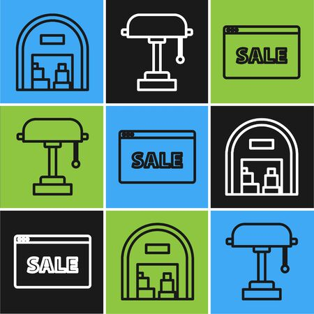Set line Warehouse, Hanging sign with text Online Sale and Table lamp icon. Vector  イラスト・ベクター素材