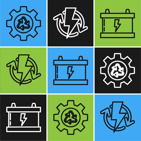 Set line Recycle symbol and gear, Car battery and Recharging icon. Vector