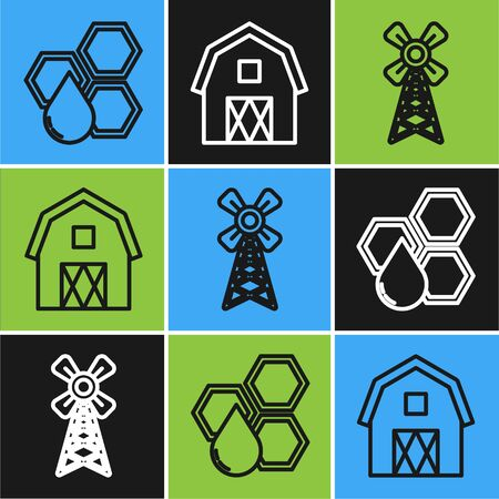 Set line Honeycomb, Windmill and Farm House concept icon. Vector