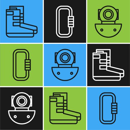 Set line Boots, Aqualung and Carabiner icon. Vector