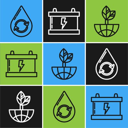 Set line Recycle clean aqua, Earth globe and leaf and Car battery icon. Vector