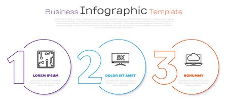 Set line Processor, Monitor display with 5k video and Cloud technology data transfer and storage. Business infographic template. Vector Ilustração