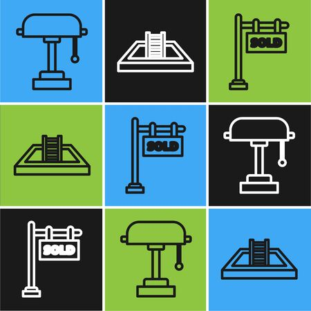 Set line Table lamp, Hanging sign with text Sold and Swimming pool with ladder icon. Vector  イラスト・ベクター素材