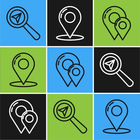 Set line Search location, Map pin and Map pin icon. Vector Ilustração