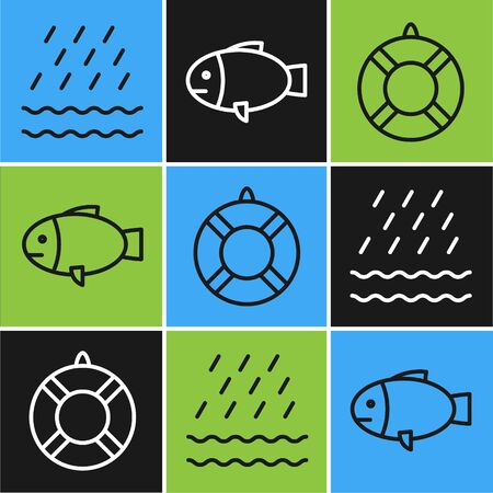 Set line Rain and waves, Lifebuoy and Fish icon. Vector 矢量图像