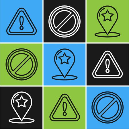 Set line Exclamation mark in triangle, Map pointer with star and Stop sign icon. Vector Illustration
