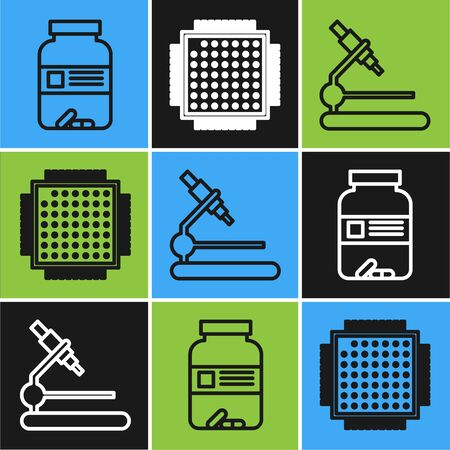 Set line Medicine bottle and pills, Microscope and Processor icon. Vector