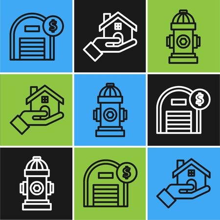 Set line Warehouse with dollar symbol, Fire hydrant and icon. Vector