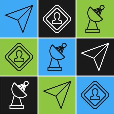Set line Paper airplane, Radar and Road traffic sign icon. Vector
