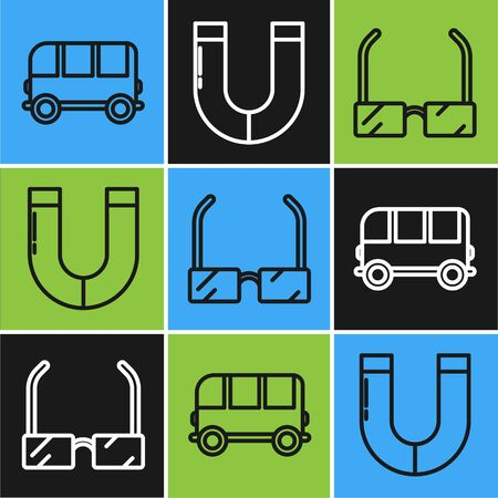 Set line School Bus, Glasses and Magnet icon. Vector Vettoriali
