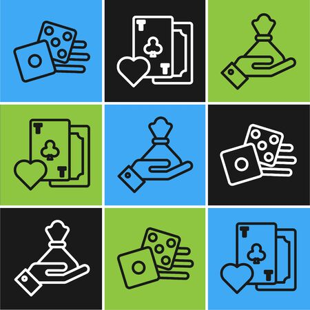 Set line Game dice, Hand holding money bag and Playing card with clubs symbol icon. Vector
