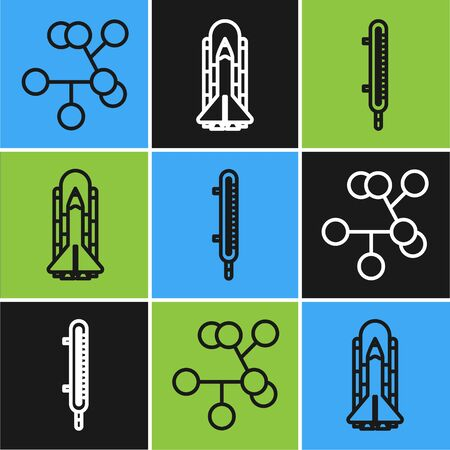 Set line Molecule, Meteorology thermometer measuring and Space shuttle and rockets icon. Vector